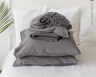 CHARCOAL GREY set of linen sheets - grey 4 pieces linen bed sheet set - gift set - linen fitted sheet, flat sheet &2 pillow cases