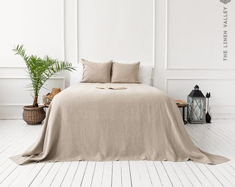 RUSTIC linen bedspread- softened linen bed cover- queen king size quilt-not bleached linen coverlet-Softened linen throw quilt