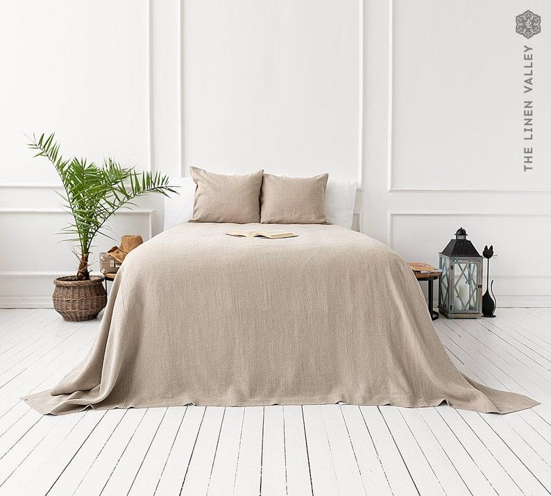 RUSTIC linen bedspread softened linen bed cover queen king image 1