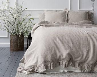 NATURAL UNBLEACHED linen comforter cover -Ruffled linen luxurious double/queen/king size doona cover- ecru duvet with ruffles