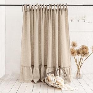 Rod Pocket Linen Curtain Panel  CHARCOAL  custom sizes