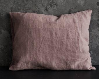 Linen wood rose pillow sham- softened linen pillows- Housewife, standard, queen, king size housewife pillow- Ashes of rose pillow