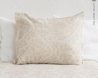 ROYAL FLORAL linen pillow sham- vintage look washed taupe linen cushion- natural linen pillow- decorative pillow- linen bedding