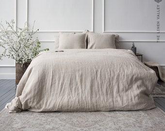 NATURAL UNBLEACHED linen set of comforter cover and pillows - linen bedding -natural linen doona cover - linen bed set