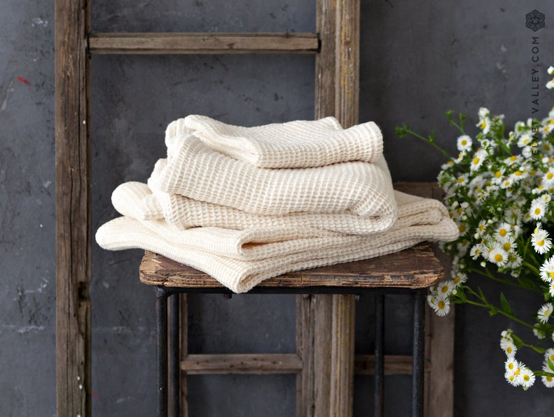 Linen ivory white bath towel gift set-waffle textured linen image 0