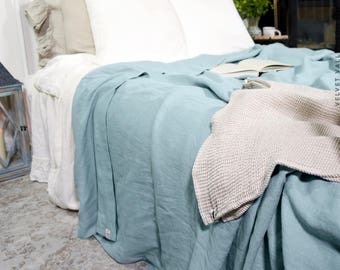 Linen king size quilt- duck egg blue bedspread-softened linen bed cover-bed quilt-stone washed light blue bed cover-softened linen bed throw