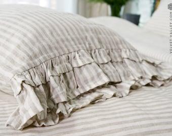 STRIPED linen pillow with ruffles-softened linen pillow- off white standard, queen, king, deco, euro sizes-Natural linen pillow with ruffles