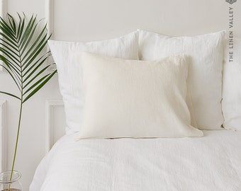 OFF WHITE linen pillow case- ivory white softened linen pillow- Housewife, standard, queen, king size housewife pillow- Antique white pillow