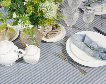 SPECIAL OFFER- Round linen blue  striped tablecloth- Vintage style tablecloth with ruffles-Large/Small light tablecloth