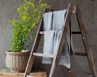 BLUE melange linen towel. Hand, body towel SET. Waffle textured linen towel. Softened linen travel towel. Beach towel