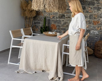 UNBLEACHED linen tablecloth- natural softened linen tablecloth- rectangular, round, square, custom sizes - not dyed linen tablecloth