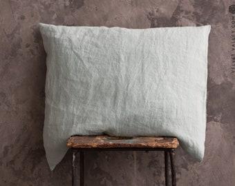 Linen duck egg blue PILLOW sham- softened linen pillow- housewife standard, queen, king sizes- dusty sky blue linen pillow
