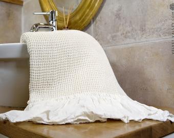 Linen ivory white bath towel with ruffles- Gift set-Waffle textured linen towel- Softened linen travel towel- beach towel