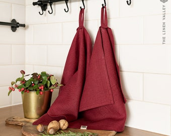 Set of 2 BURGUNDY RED linen tea towels. Hand towel. Heavy weight linen towel. Linen rosewood towel. Linen dish towel