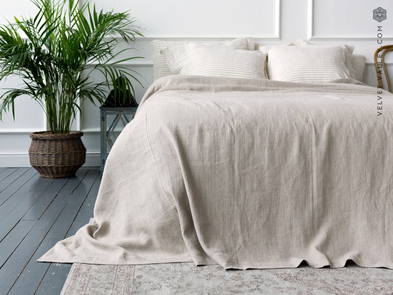 Linen bedspread softened linen bed cover-rustic queen king image 0