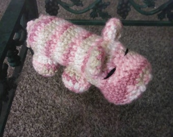 Hippo plush toy,multicolor Pink Hippo, Amigurumi hippo, Crocheted hippo, plush toy, plush hippo, Hippopotamus, office deco