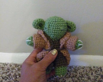 YodaCrochet Doll Star wars,Amigurumi Crocheted Yoda