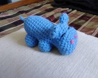 Hippo plush toy,Blue Hippo, Amigurumi hippo, Crocheted hippo, plush toy, plush hippo, Hippopotamus, office deco