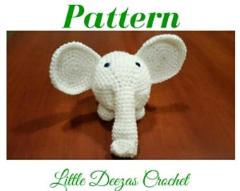 Albino Elephant pattern, White Elephant, Crocheted Elephant pattern Amigurumi Animal pattern
