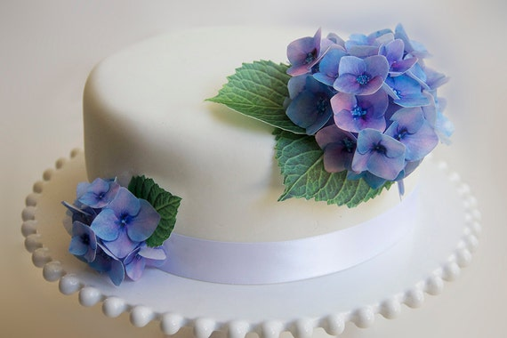 Edible Wafer Paper Flowers Cake Decorations Hydrangea Cake Etsy