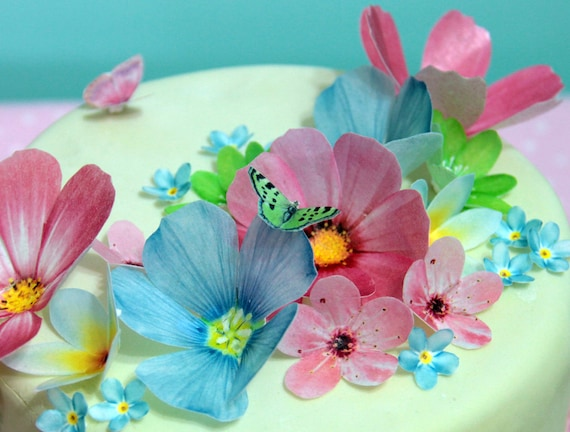Edible wafer paper flowers cake decorations cupcake and etsy image 0 mightylinksfo