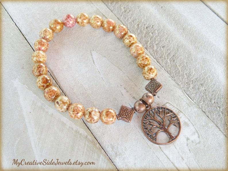 Copper Tree of Life Bracelet, Beaded Charm Bracelet, Symbolic Jewelry, Boho  Tree Charm Bracelet, Mother's Day Gift