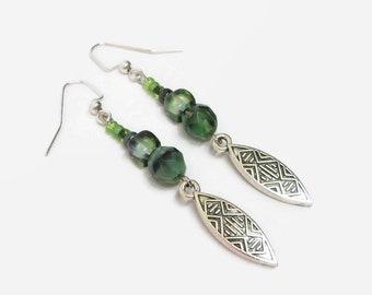 Green Boho Earrings, Bohemian Style Dangle Earrings, Green Czech Glass Earrings, Southwest Style Earrings, Unique Earrings, Gift For Her
