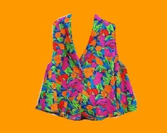 Vintage 90s Neon Floral Blouse (Size Medium)