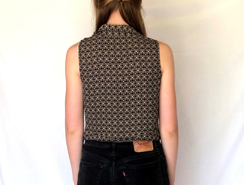 Size Small Vintage 90s Cropped Geometric Floral Sleveless Blouse