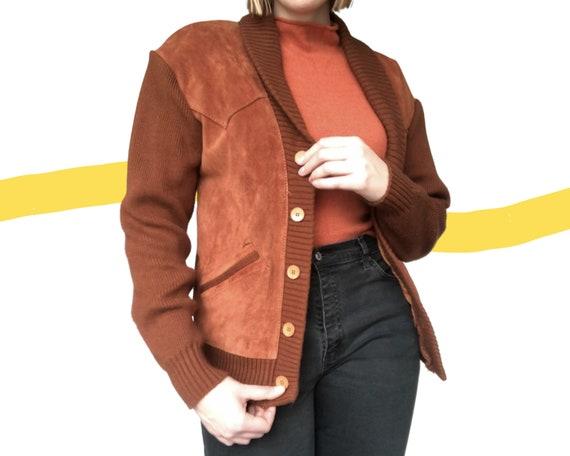 Vintage Real Suede Leather Knit Cardigan Brown Jac