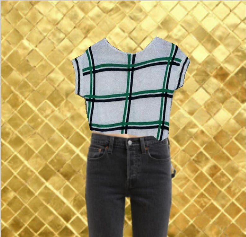 Size Vintage 70s White and Black Plaid Top Green