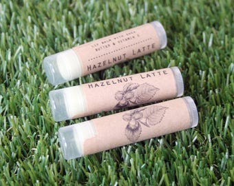 Hazelnut Latte Flavored Lip Balm // All Natural Handmade Beeswax Lip Care with Vitamin E and Shea Butter // Coffee Lovers // Latte Lip Balm