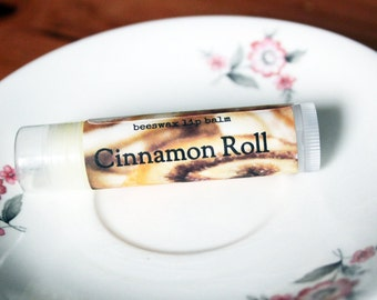 Cinnamon Roll Lip Balm // All Natural Handmade Beeswax Lip Care with Vitamin E and Shea Butter // Dessert Lip Balms // holiday lip balm