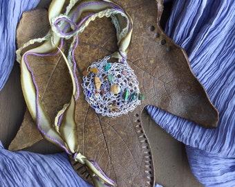 Sunburst, Crochet Wire Necklace