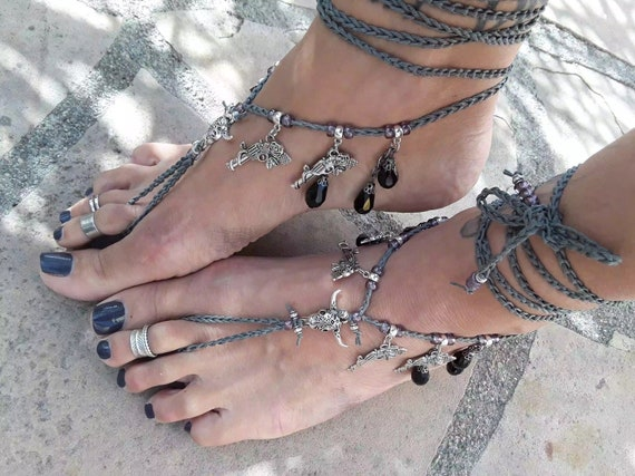 Cowgirl Steer Bull horns Barefoot Sandals naked shoes foot accessory boho bohemian jewelry hippie anklet