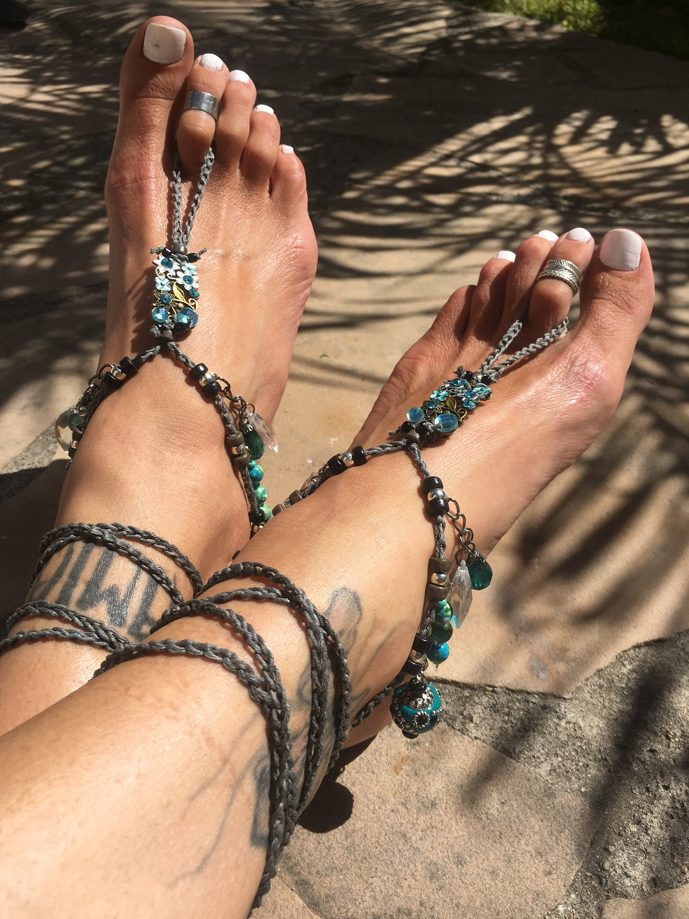 VIRGO Goddess Barefoot Sandals gypsy naked shoes boho foot accessory boho shoes bohemian jewelry hippie belly dance feet beach yoga earthing blue 9ff1e4