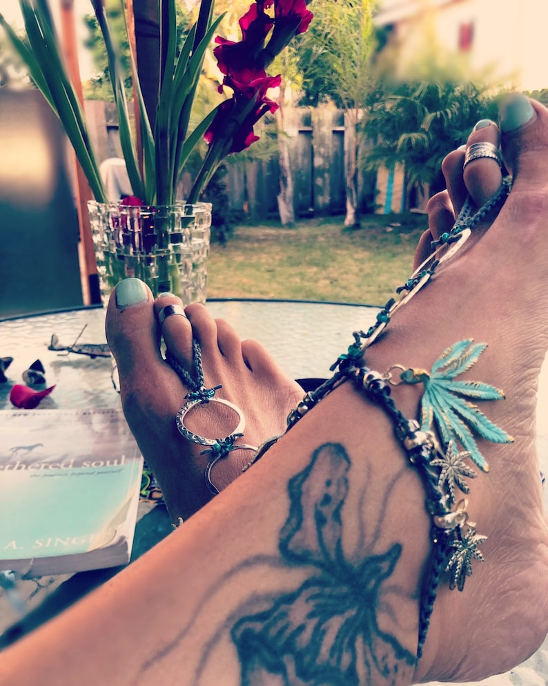 8265e3c4f Marijuana Leaf Gypsy Goddess Barefoot Sandals By Iris Weed Pot