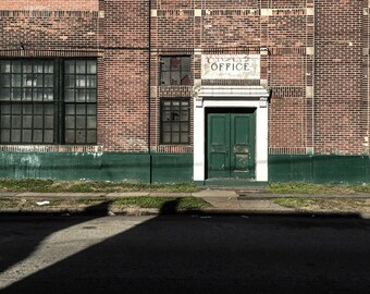 Abandoned Photography Philadelphia, Small Wall Art, Office Decor, Shadows, Vintage Prints, Old Architecture, Industrialism, Minimalism Art