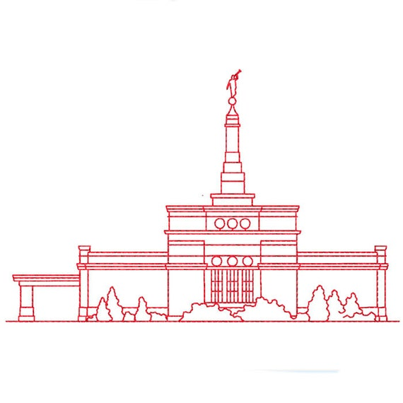 Nashville Tennessee Lds Temple Redwork Embroidery Design Etsy