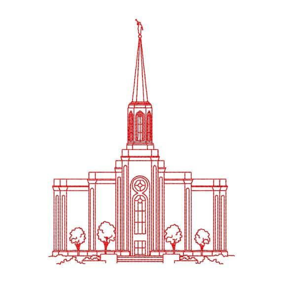St Louis Missouri Lds Temple Redwork Embroidery Design Etsy