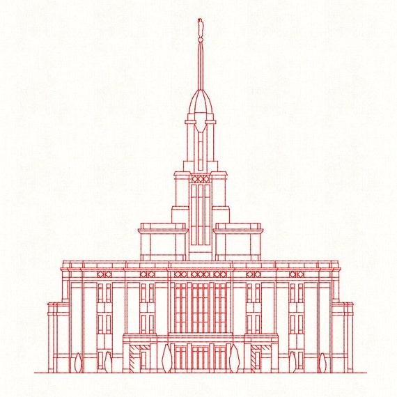 Payson Utah LDS Temple Redwork Embroidery Design digital | Etsy