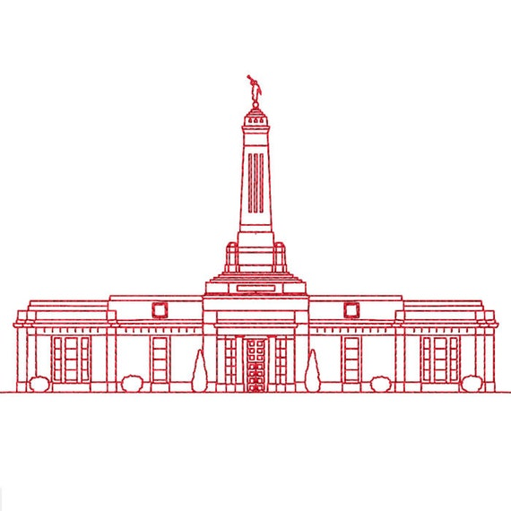 Indianapolis Indiana Lds Temple Redwork Embroidery Design Etsy