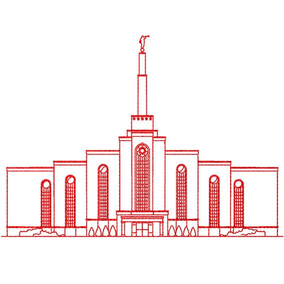 Albuquerque New Mexico Lds Temple Redwork Embroidery Design Etsy