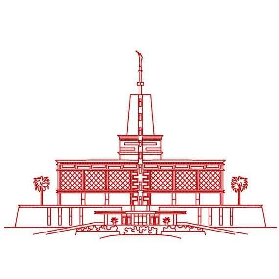 Templo Sud de México Ciudad México diseño de bordado Redwork | Etsy