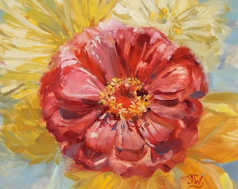 Red Zinnia, Original Oil painting, 6x6 inches