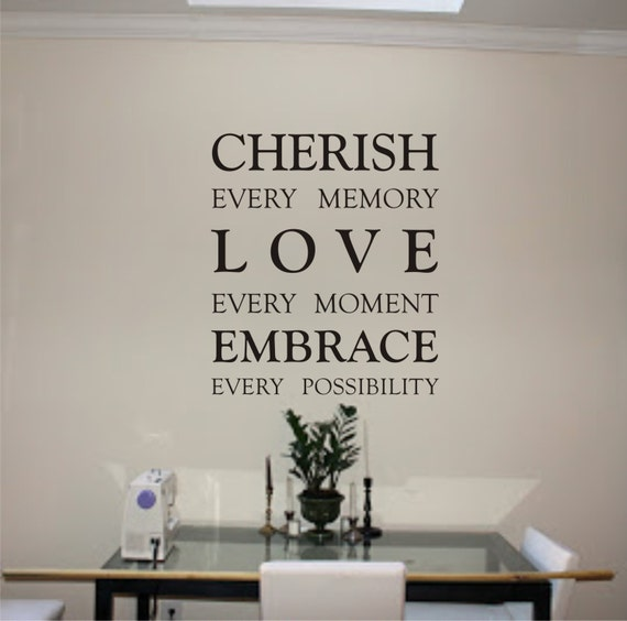 Cherish Every Memory Quote Wall Decor Vinyl Decal Etsy