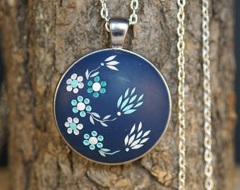 Navy Blue Necklace Cobalt Blue Necklace ocean blue necklace dark blue necklace royal blue flower necklace blue necklace bridesmaid necklace