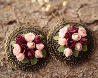 Dark red rose earrings, gothic victorian, polymer clay, Magenta, burgundy, ivory earrings, marsala earrings, statement earrings, white roses