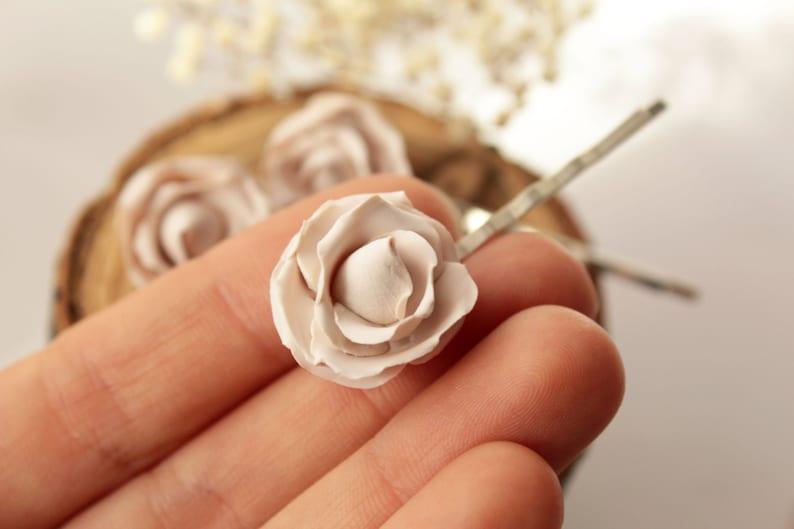 Ivory rose hair pin Rustic wedding Bride flower pin Bridal hair flower champagne beige hair clips Wedding hair accessories