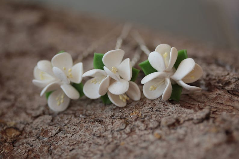 Flower hair pin Bridal Hair Pins Cherry blossom bridal hair pin Set of 3 Rustic wedding sakura Bridal White Hair Pins cherry wedding